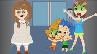 Bubble Guppies Gil & Molly Babies Scared when Opposite Annabelle in the Elevator Funny Pranks