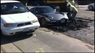 Funny Things | Funny Videos | Idiot drives his Porsche 911 into fresh Concrete
