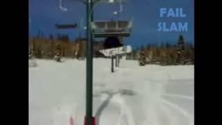 Idiot Falls Off of a Ski  Lift Fail